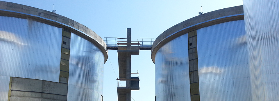 Methane tanks from a sewage water plant in Romania