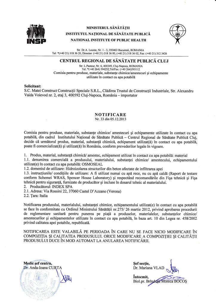 Notificare Osmoseal
